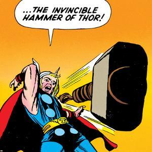 Marvel Comics Retro: Mighty Thor Comic Panel, Throwing Hammer