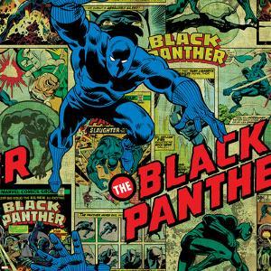 Marvel Comics Retro Pattern Design Featuring Black Panther