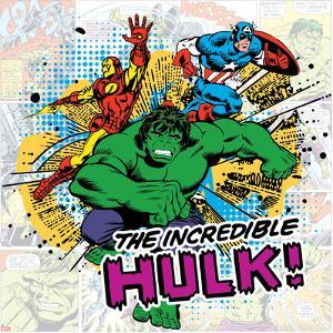 Marvel Comics Retro Pattern Design Featuring Hulk, Iron Man, Captain America