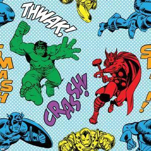 Marvel Comics Retro Pattern Design Featuring Thor, Iron Man, Hulk, Captain America