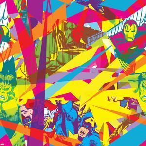 Marvel Comics Retro Pattern Design Featuring Vision, Iron Man, Hulk, Thor, Captain America