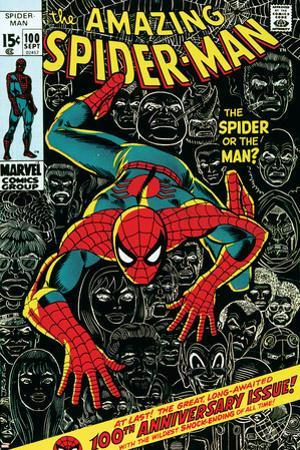 Marvel Comics Retro: The Amazing Spider-Man Comic Book Cover No.100, 100th Anniversary Issue