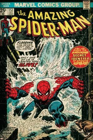 Marvel Comics Retro: The Amazing Spider-Man Comic Book Cover No.151, Flooding (aged)