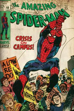 Marvel Comics Retro: The Amazing Spider-Man Comic Book Cover No.68, Crisis on Campus (aged)