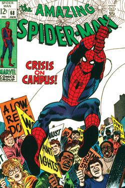 Marvel Comics Retro: The Amazing Spider-Man Comic Book Cover No.68, Crisis on Campus