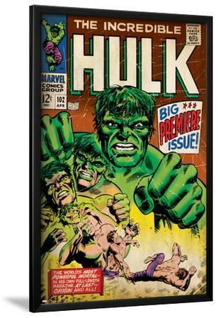 Marvel Comics Retro: The Incredible Hulk Comic Book Cover No.102, Big Premiere Issue (aged)