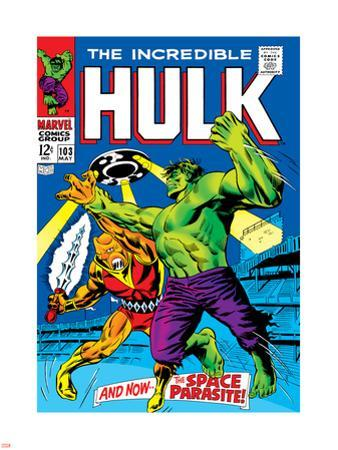 Marvel Comics Retro: The Incredible Hulk Comic Book Cover No.103, with the Space Parasite