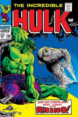 Marvel Comics Retro: The Incredible Hulk Comic Book Cover No.104, with the Rhino