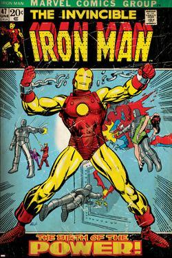 Marvel Comics Retro: The Invincible Iron Man Comic Book Cover No.47, Breaking Through Chains (aged)