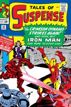 Marvel Comics Retro: The Invincible Iron Man Comic Book Cover No.52, Facing the Crimson Dynamo