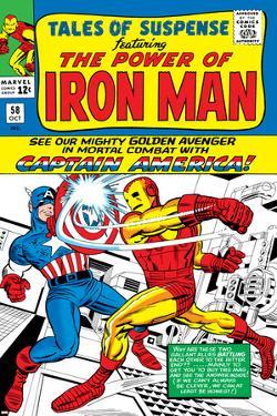 Marvel Comics Retro: The Invincible Iron Man Comic Book Cover No.58, Facing Captain America