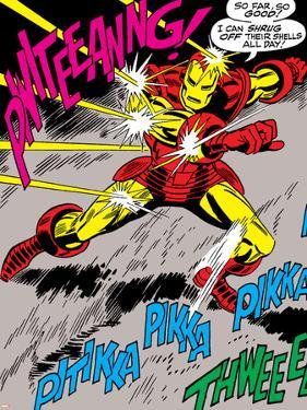 Marvel Comics Retro: The Invincible Iron Man Comic Panel, Fighting and Deflecting