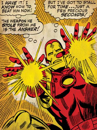 Marvel Comics Retro: The Invincible Iron Man Comic Panel, Fighting and Shooting (aged)