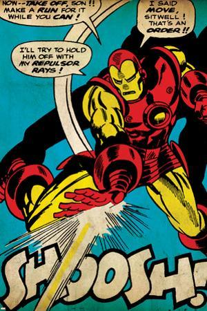 Marvel Comics Retro: The Invincible Iron Man Comic Panel, Fighting and Shooting, Shoosh! (aged)