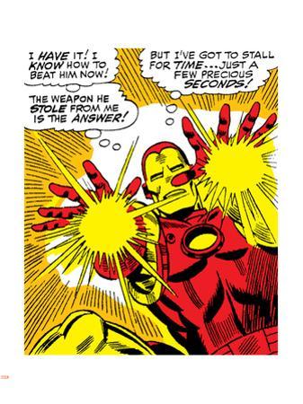 Marvel Comics Retro: The Invincible Iron Man Comic Panel, Fighting and Shooting