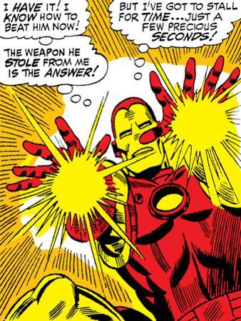 Marvel Comics Retro: The Invincible Iron Man Comic Panel, Fighting and Shooting