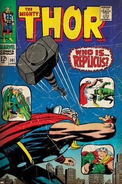 Marvel Comics Retro: The Mighty Thor Comic Book Cover No.141, Who is Replicus? (aged)