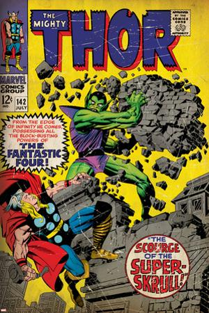 Marvel Comics Retro: The Mighty Thor Comic Book Cover No.142, Scourge of the Super Skrull! (aged)