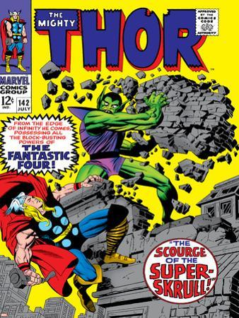 Marvel Comics Retro: The Mighty Thor Comic Book Cover No.142, Scourge of the Super Skrull!