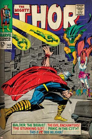 Marvel Comics Retro: The Mighty Thor Comic Book Cover No.143, Sif (aged)