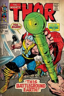 Marvel Comics Retro: The Mighty Thor Comic Book Cover No.144, Charging, Swinging Hammer (aged)