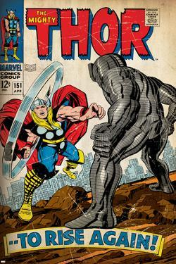 Marvel Comics Retro: The Mighty Thor Comic Book Cover No.151 --To Rise Again! (aged)