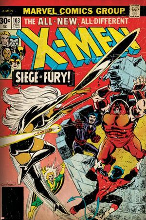 Marvel Comics Retro: The X-Men Comic Book Cover No.103 with Storm, Nightcrawler, Banshee(aged)