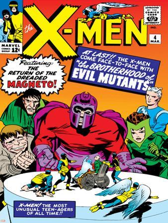 Marvel Comics Retro: The X-Men Comic Book Cover No.4, Scarlet Witch, Quicksilver, Toad, Magneto