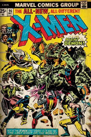 Marvel Comics Retro: The X-Men Comic Book Cover No.96, Fighting the Night Demon (aged)