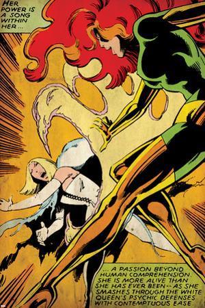 Marvel Comics Retro: X-Men Comic Panel, Phoenix, Emma Frost, Fighting (aged)