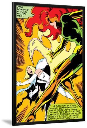 Marvel Comics Retro: X-Men Comic Panel, Phoenix, Emma Frost, Fighting