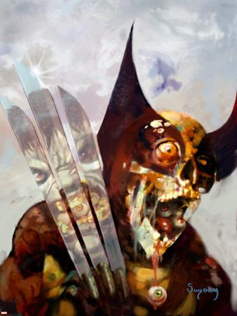 Marvel Zombies #3 Cover: Wolverine and Hulk Fighting