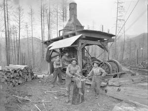 Donkey Engine at West Fork Logging Company, 1920 by Marvin Boland