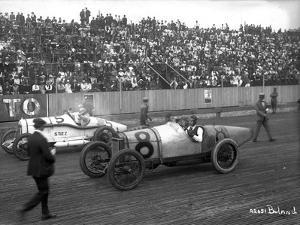 Earl Cooper and Eddie Hearne Driving Racing Cars, Tacoma Speedway (July 4, 1918) by Marvin Boland