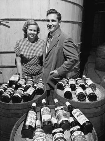 Marvin Sands and His Wife Marilyn with their Wine. Ceo of Canandaigua Industries. Canandaigua, Ny