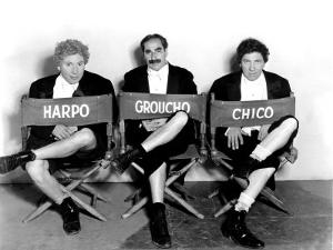 Marx Brothers - Harpo Marx, Groucho Marx, Chico Marx on the Set of Night at the Opera, 1935