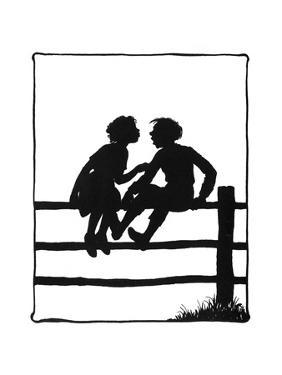 Susan and Dunderpate Sitting on the Fence by Mary Baker