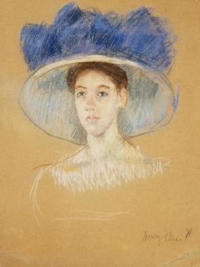 Head of a Woman with a Large Hat, C.1909 by Mary Cassatt