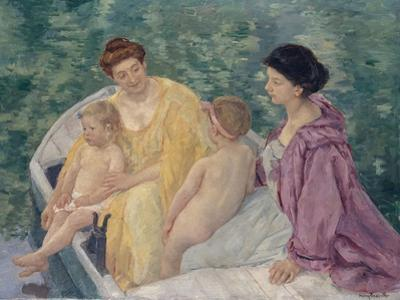 Le Bain (Two Mothers and their Children in a Boa) by Mary Cassatt