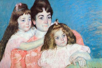 Madame A.F. Aude with Her Two Daughters by Mary Cassatt