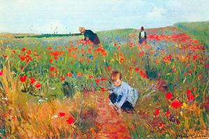 Mary Cassatt Poppy In The Field by Mary Cassatt