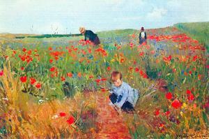 Mary Cassatt Poppy In The Field by Mary Cassatt
