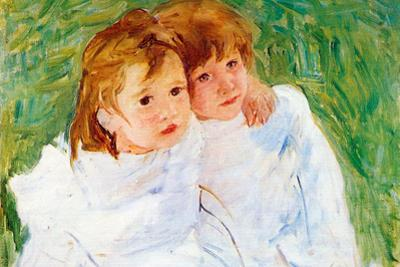 Mary Cassatt The Sisters Plastic Sign by Mary Cassatt