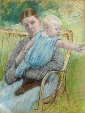 Mathilde Holding a Baby Who Reaches Out to the Right, C.1889 by Mary Cassatt