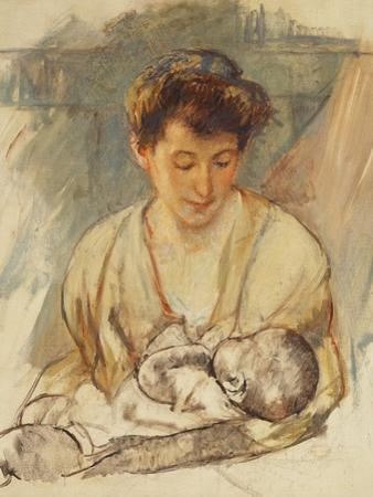 Mother Rose Looking Down at Her Sleeping Baby, C.1900 by Mary Cassatt