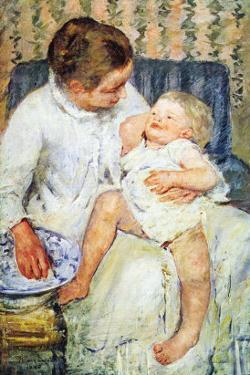 Mother Washing The Tired Child by Mary Cassatt