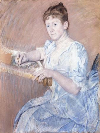 Mrs. Alexander J. Cassat in a Blue Evening Gown Seated at a Tapestry Frame by Mary Cassatt