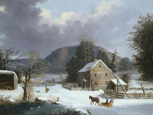 New England Farm by a Winter Road by Mary Cassatt