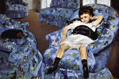 Small Girl In Blue by Mary Cassatt