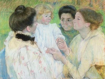 Women Admiring a Child, 1897 (Pastel on Paper) by Mary Cassatt